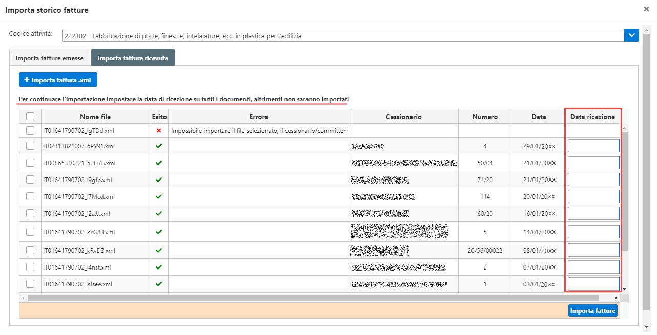 Console inWeb: Importa fatture emesse e ricevute in altri software - impostazione data di ricezione