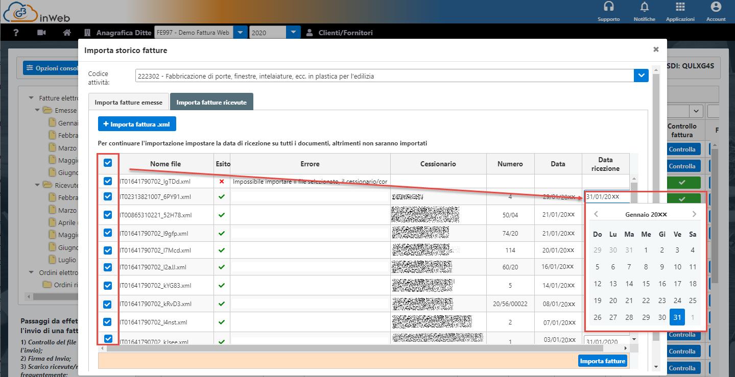 Console inWeb: Importa fatture emesse e ricevute in altri software - Selezione campo data di ricezione