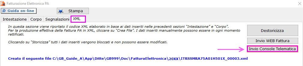 Modulo Fatturazione elettronica sezione XML