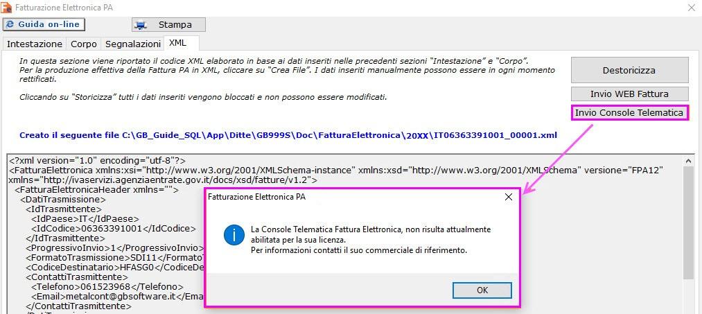 L'utente, tramite messaggio, viene avvisato che la gestione non è prevista nella sua licenza