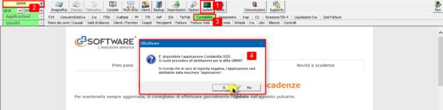 Contabilità 2020: rilascio applicazione - schermata contabilità