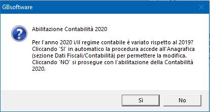 Contabilità 2020: rilascio applicazione - abilitazione contabilità