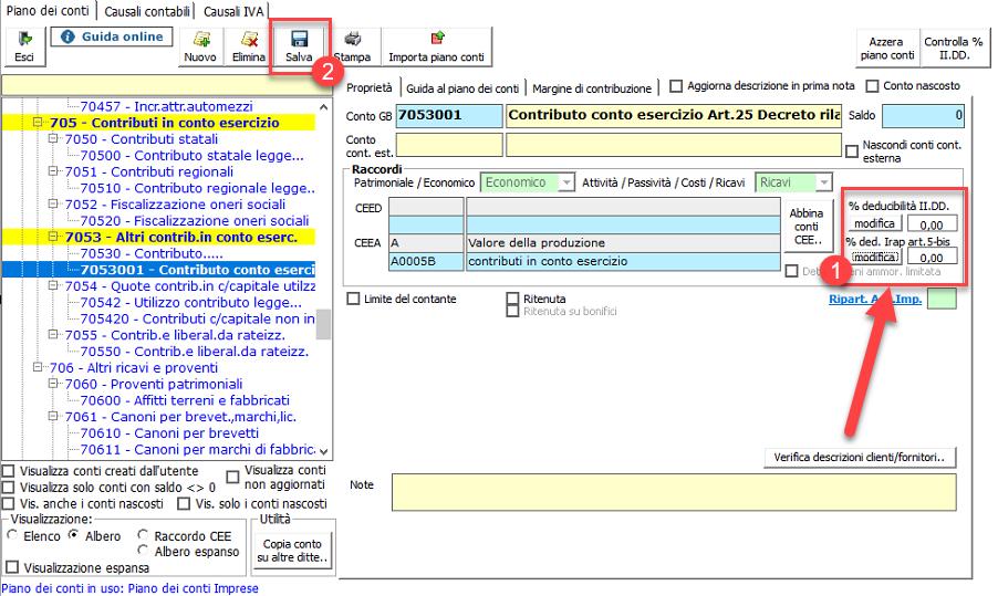 Contabilizzazione contributo a fondo perduto Art. 25 Decreto Rilancio - modifica parametri di tassazione
