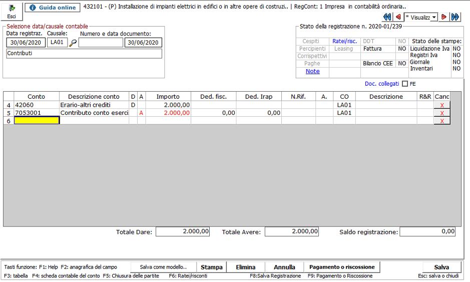 Contabilizzazione contributo a fondo perduto Art. 25 Decreto Rilancio - Contabilizzazione in prima nota del contributo