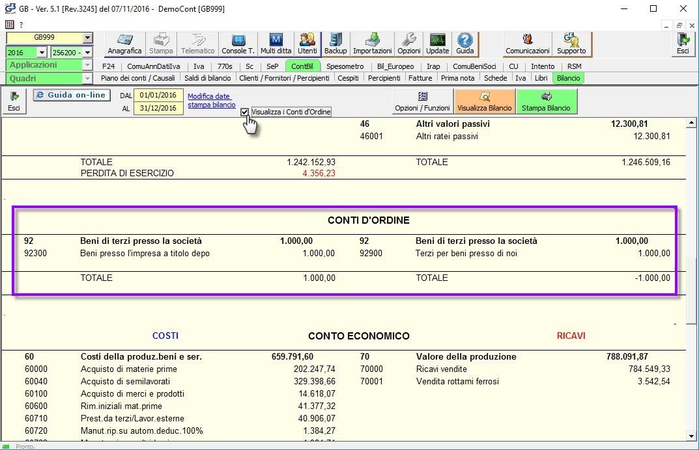 Check Visualizza i Conti d'Ordine