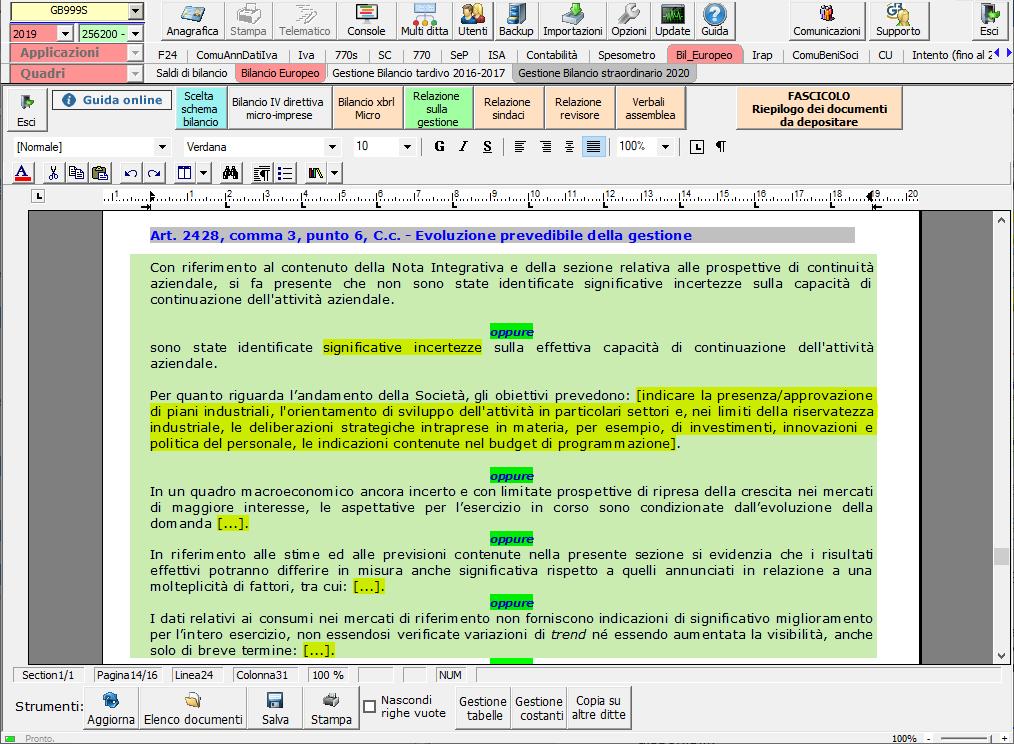 Continuità aziendale e Covid-19: cosa scrivere in bilancio - Evoluzione prevedibile della gestione