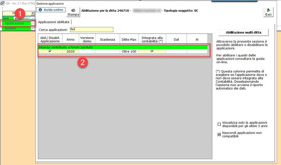 Contributo a fondo perduto: nuova applicazione - Abilitazione modulo per  compilazione istanza e invio