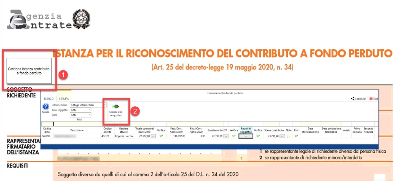 Contributo a fondo perduto: nuova applicazione - Scarico in automatico dati verificati