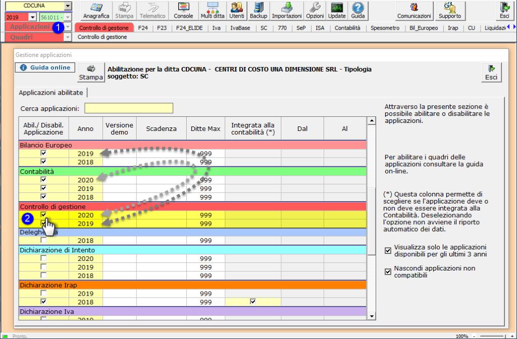 Controllo di Gestione: disponibile modulo Centri di costo - Abilitazione applicazione
