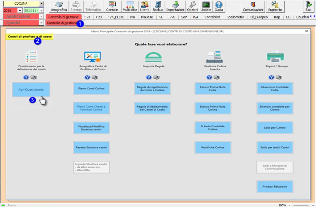 Controllo di Gestione: disponibile modulo Centri di costo - Tab centri di profitto e di costo