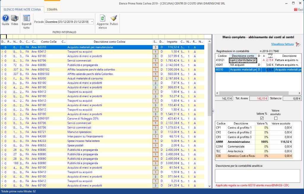 Controllo di Gestione: disponibile modulo Centri di costo - Tab elenco prima nota CoAna