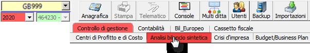 Controllo di Gestione: anticipazioni Analisi di Bilancio Sintetica - Posizionamento app controllo di gestione