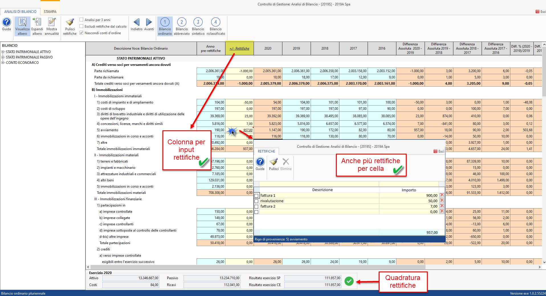 Controllo di Gestione: anticipazioni Analisi di Bilancio Sintetica - Rettifiche utente
