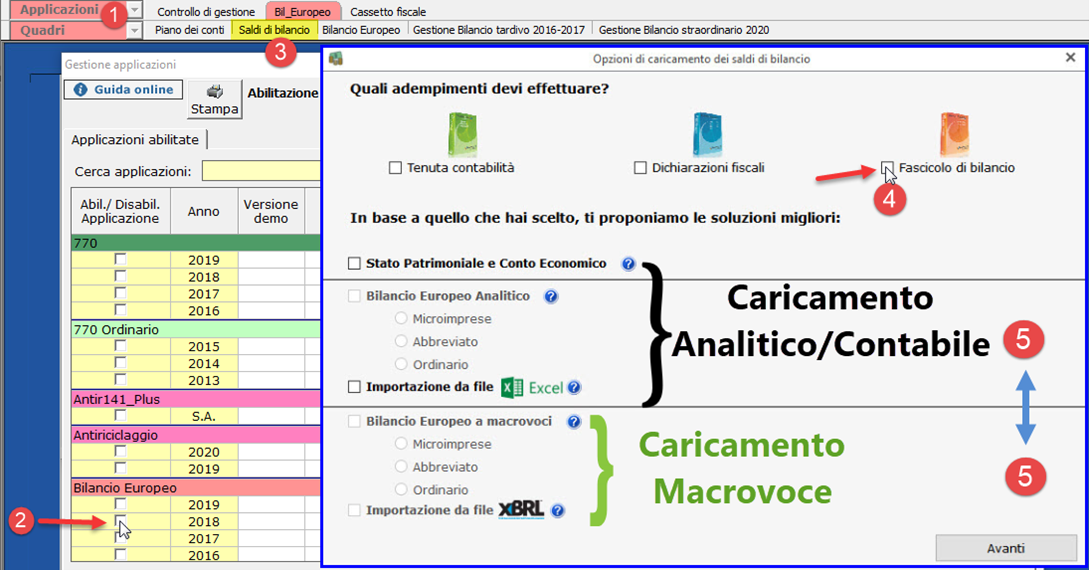 Controllo di Gestione: disponibile Analisi di Bilancio Sintetica - Caricamento analitico, contabile e macrovoce