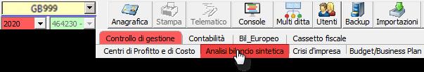 Controllo di Gestione: disponibile Analisi di Bilancio Sintetica - Apertura modulo Analisi bilancio sintetica