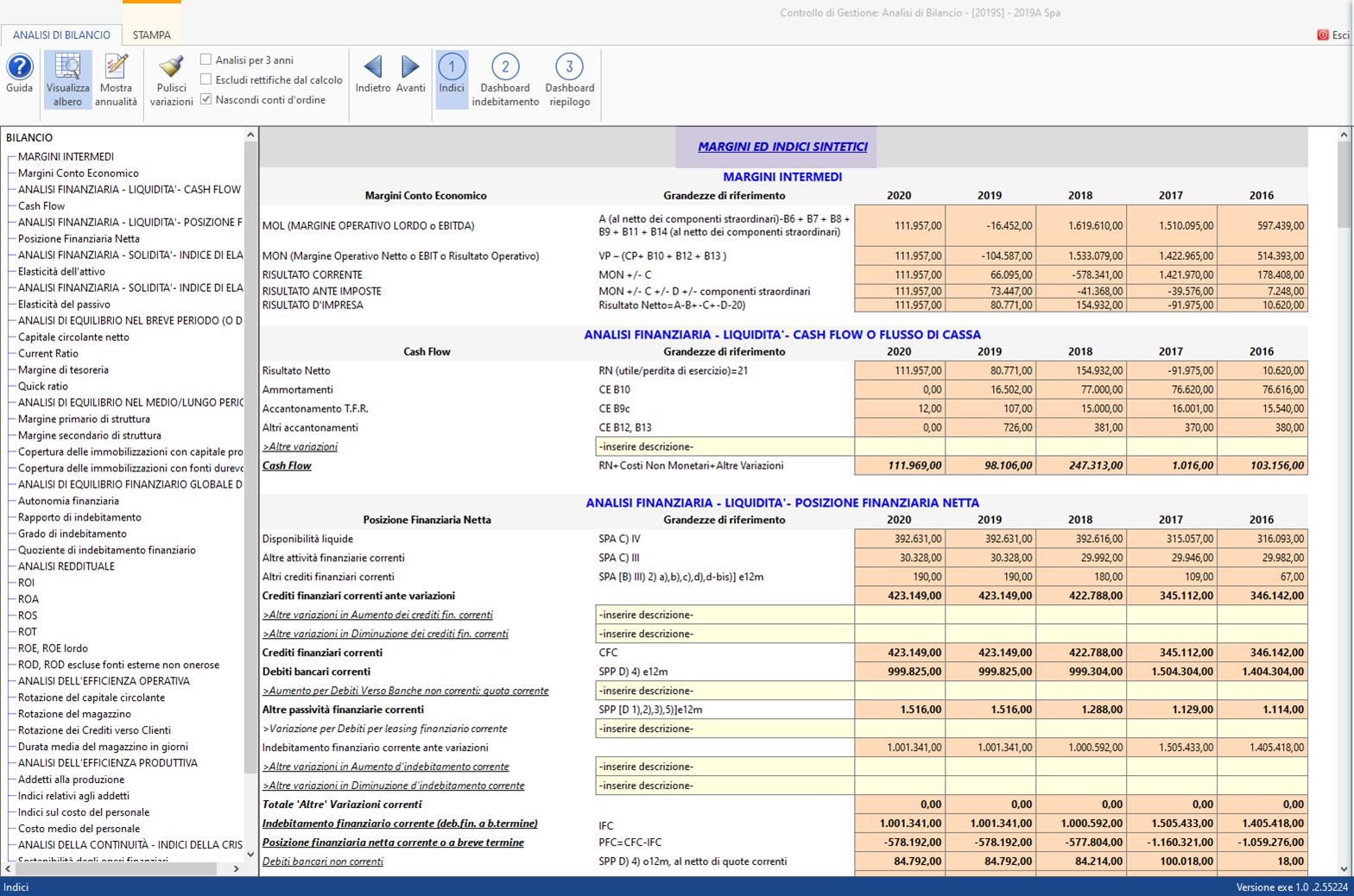 Controllo di Gestione: disponibile Analisi di Bilancio Sintetica - Sezione indici