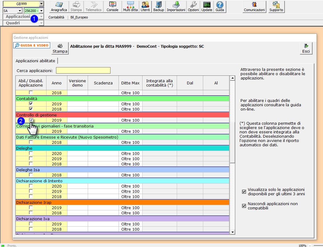 Controllo di gestione: logica dell'applicazione e rilascio del modulo Centri di profitto e di costo - Gestione Applicazioni