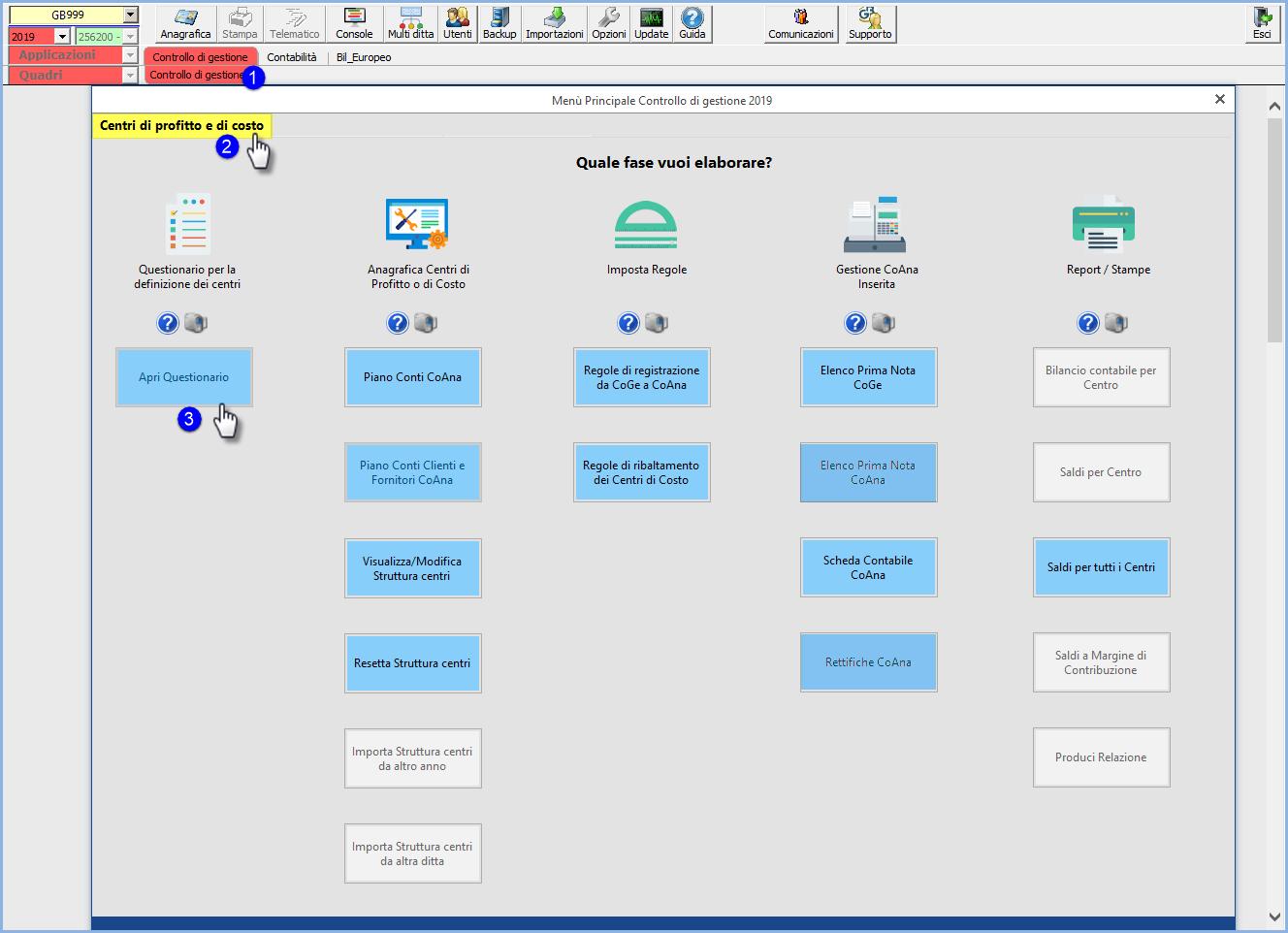 Controllo di gestione: logica dell'applicazione e rilascio del modulo Centri di profitto e di costo - Controllo gestione