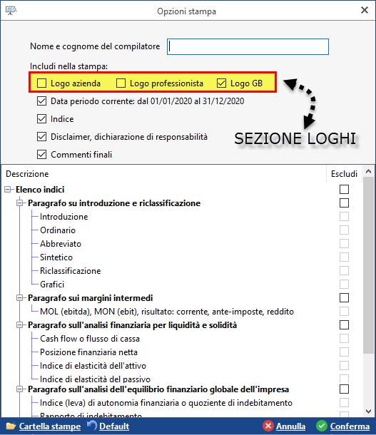 Controllo di Gestione: Relazioni con loghi - Nuove opzioni di stampa