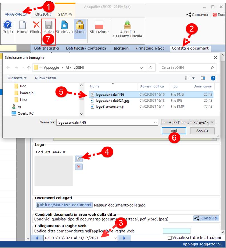 Controllo di Gestione: Relazioni con loghi - Tab contatti e documenti