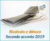 Ricalcolo e sblocco secondo acconto imposte 2019
