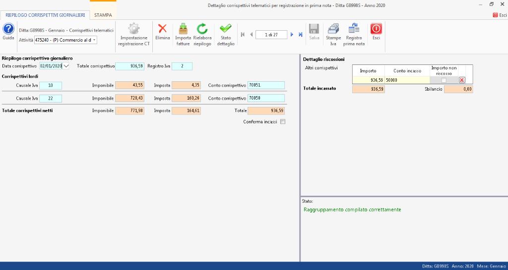 Corrispettivi elettronici: passaggi tra i vari step - tab registra incassi