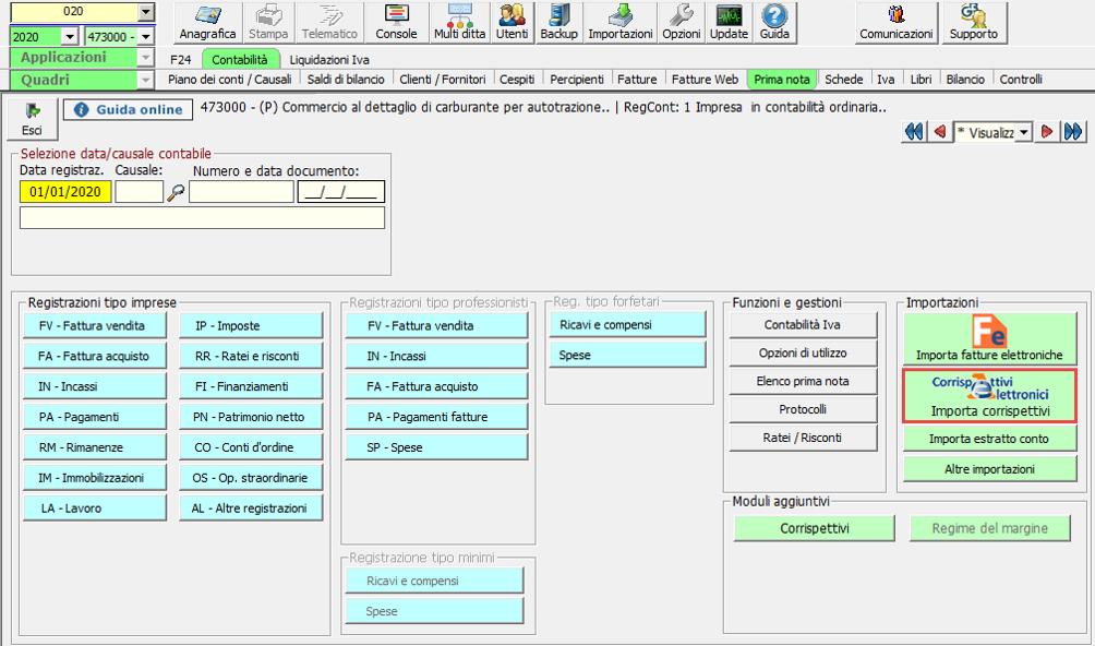 Corrispettivi elettronici e registrazione in Prima nota - Anagrafica contabilità