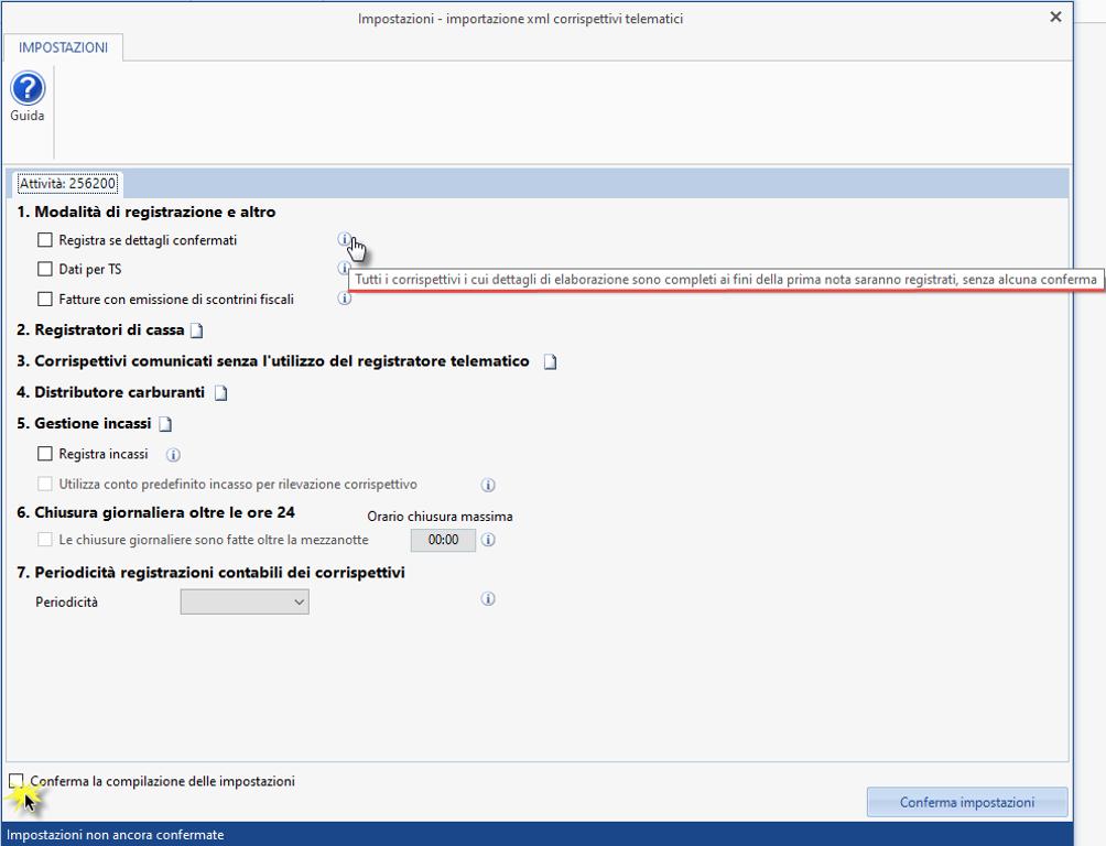 Corrispettivi elettronici e registrazione in Prima nota - Importazione xml corrispettivi