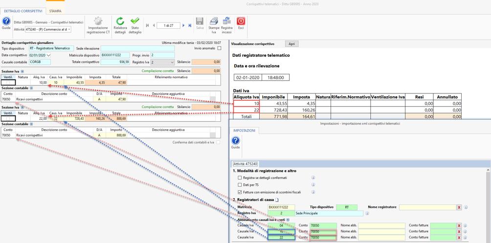 Importazione corrispettivi elettronici XML - Dettaglio corrispettivi