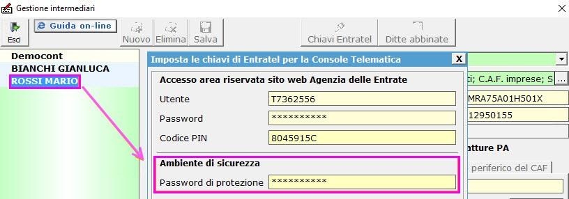 La password di accesso da indicare è quella di protezione di Entratel