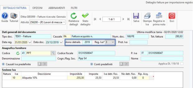 Detrazione IVA delle fatture a cavallo d'anno 2019-2020 - dettaglio fattura