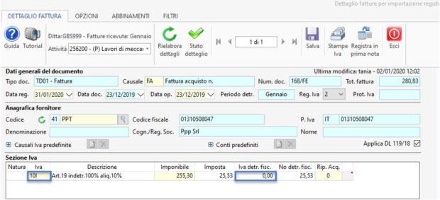 Detrazione IVA delle fatture a cavallo d'anno 2019-2020 - dettaglio fattura sezione IVA
