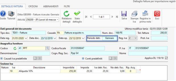 Detrazione IVA delle fatture a cavallo d'anno 2019-2020 - dettaglio fattura periodo detraibile