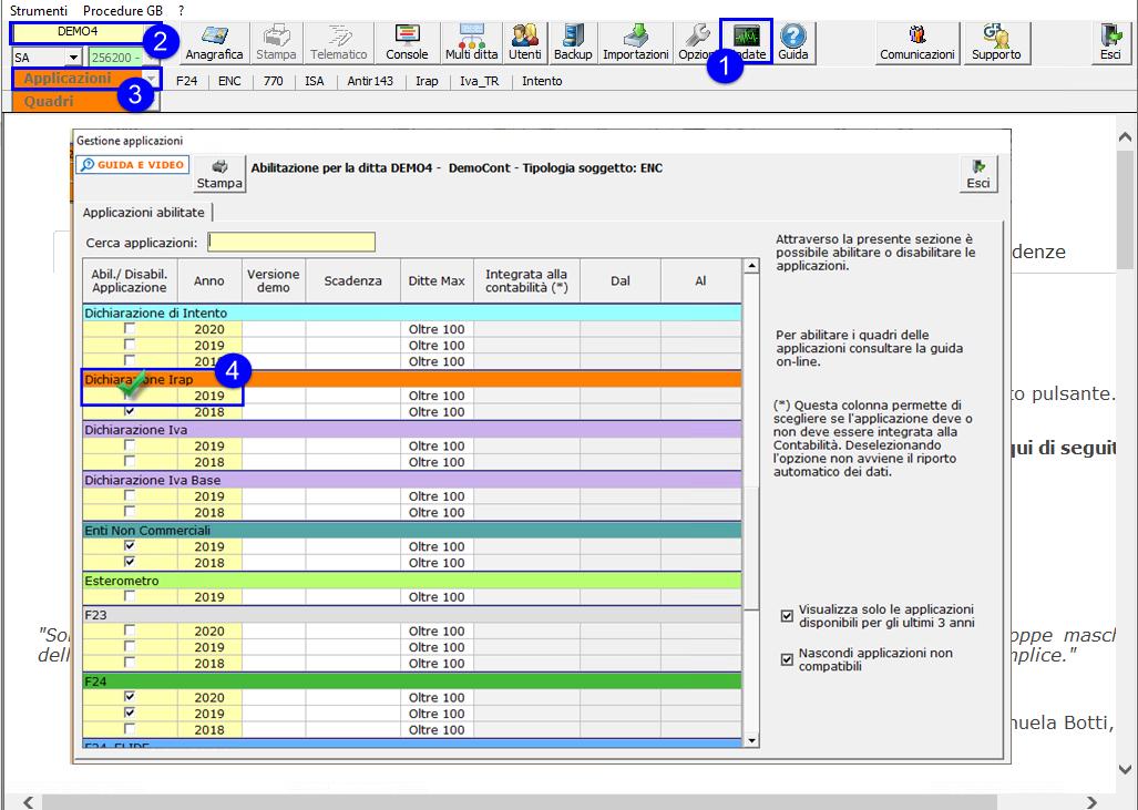 Dichiarazione IRAP 2020: disponibile applicazione - Schermata gestione applicazionoi