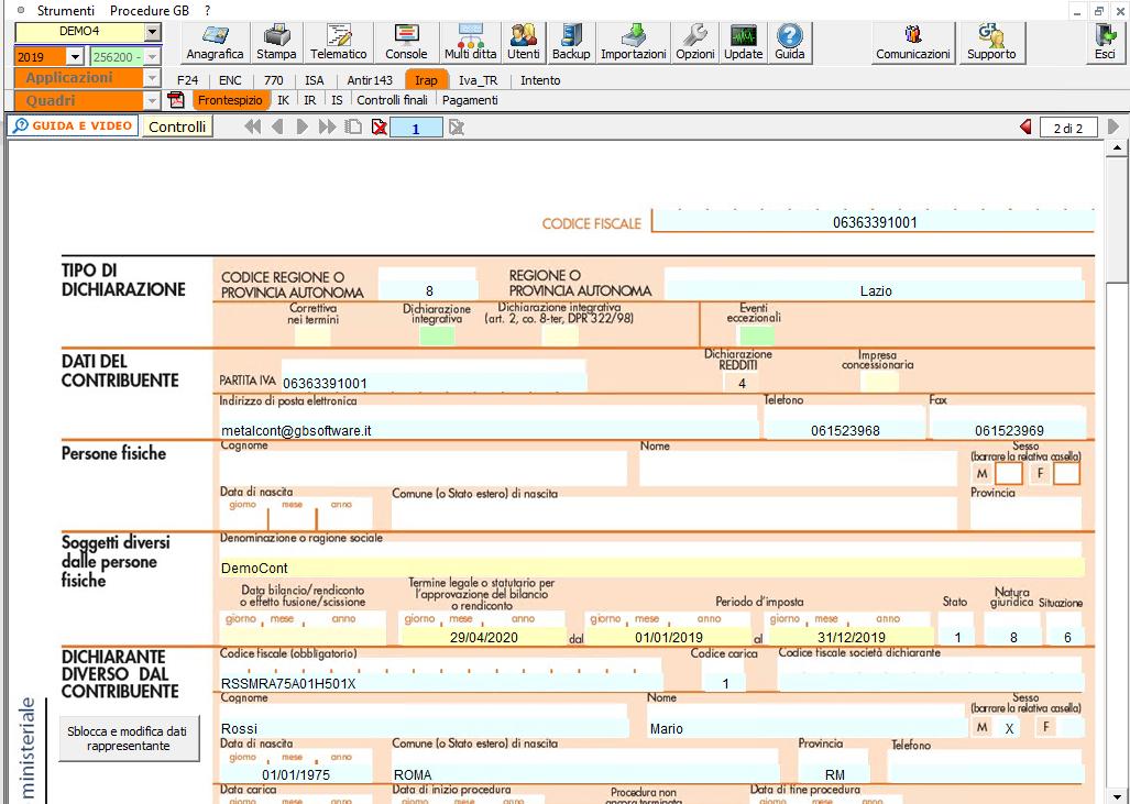 Dichiarazione IRAP 2020: disponibile applicazione - Schermata dichiarazione Irap