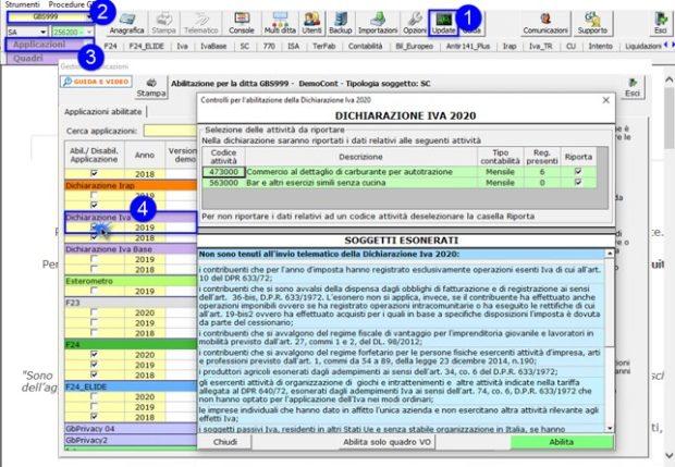 Dichiarazione IVA 2020: rilascio applicazione - Abilitazione applicazione