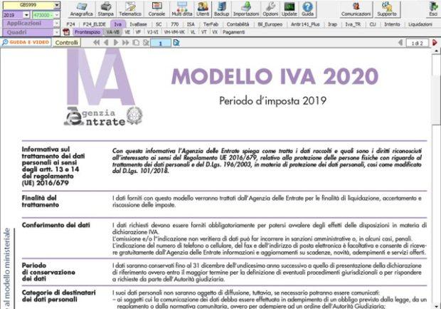 Dichiarazione IVA 2020: rilascio applicazione - Modello ministeriale Dichiarazione IVA