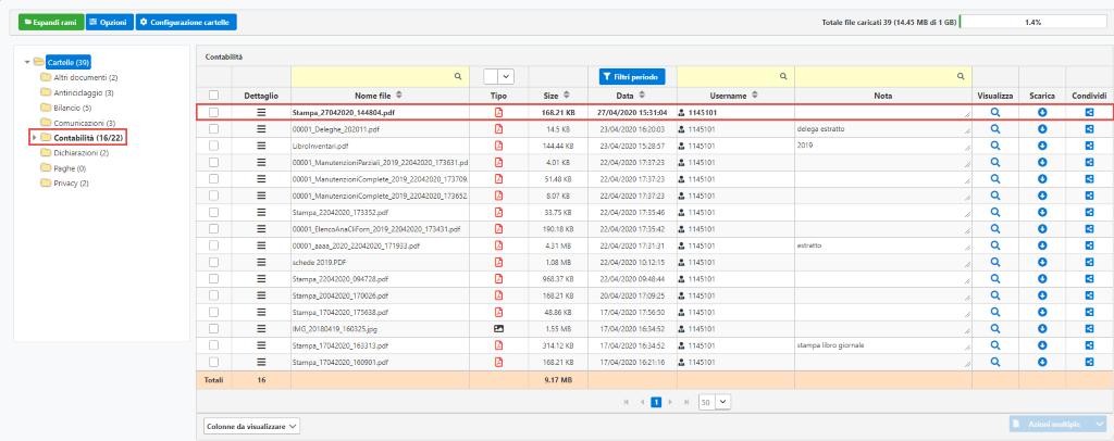 Documentale Web: condivisione file tra studio e cliente - Maschera cartella contabilità cliente