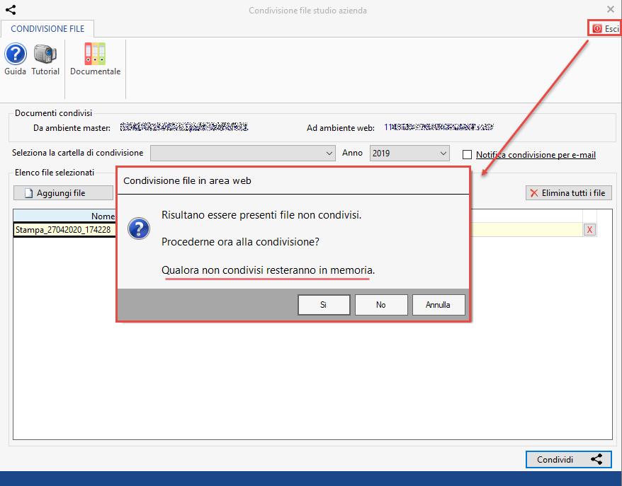 Documentale Web: condivisione file tra studio e cliente - Messaggio presenza di file non condivisi