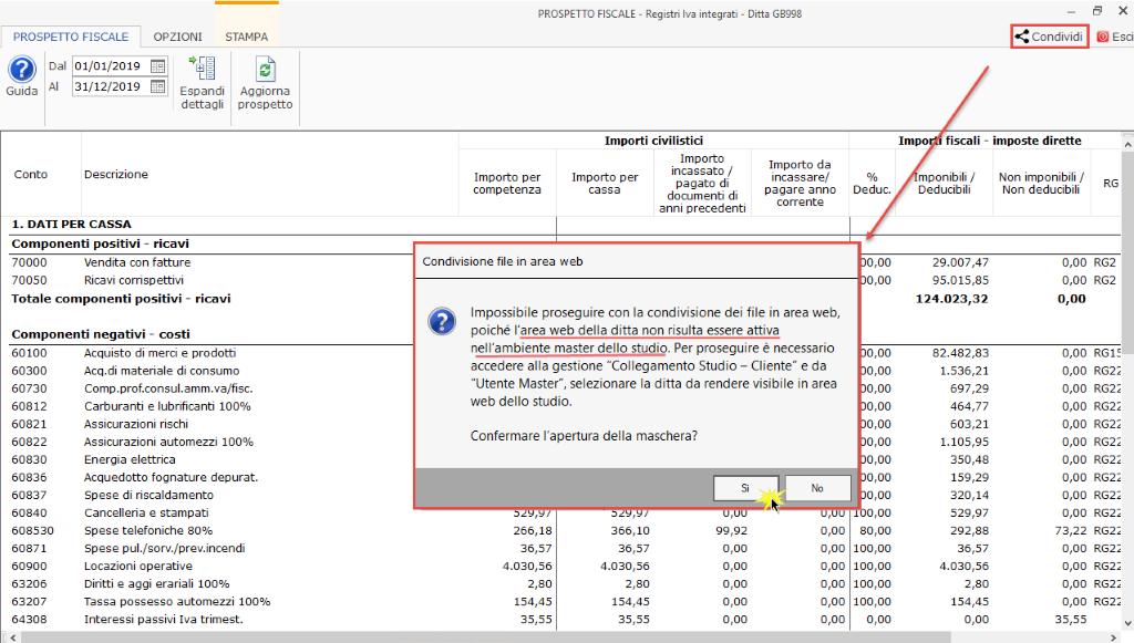 Documentale Web: condivisione file tra studio e cliente - Messaggio nessun area web della ditta attiva