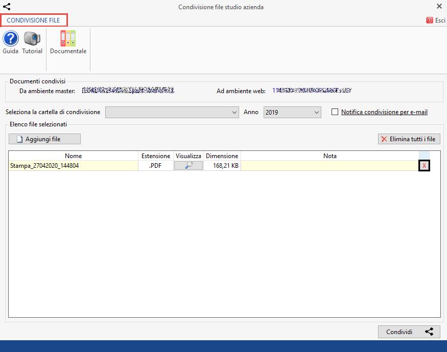 Documentale Web: condivisione file tra studio e cliente - Maschera condivisione file studio azienda