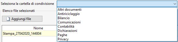 Documentale Web: condivisione file tra studio e cliente - Maschera seleziona cartella di condivisione