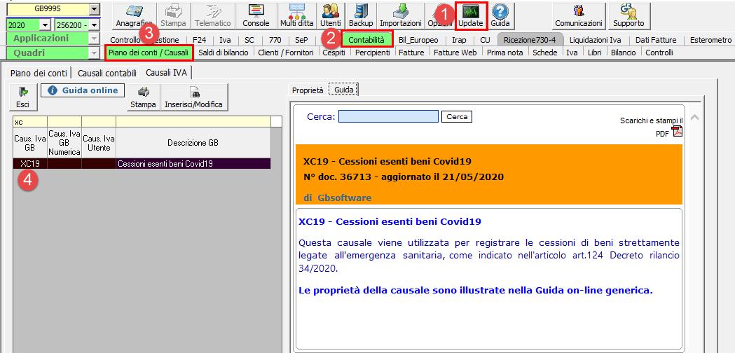 Esenzione Iva per cessioni di beni legati all'emergenza sanitaria Covid19 - Causale Iva dal piano dei conti/causali