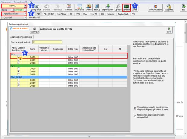 F23 2020: rilascio applicazione - Check F23