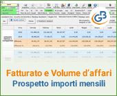 Fatturato e volume d'affari: prospetto con importi mensili