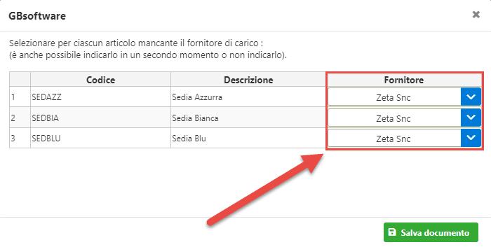 Fatturazione inWeb: Gestione Sottoscorta: indicare fornitore