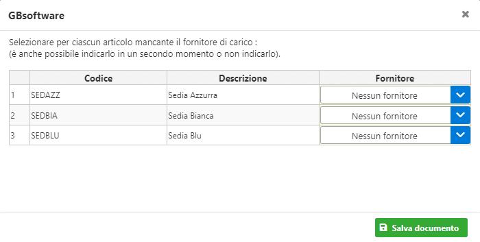Fatturazione inWeb: Gestione Sottoscorta: inserire fornitore