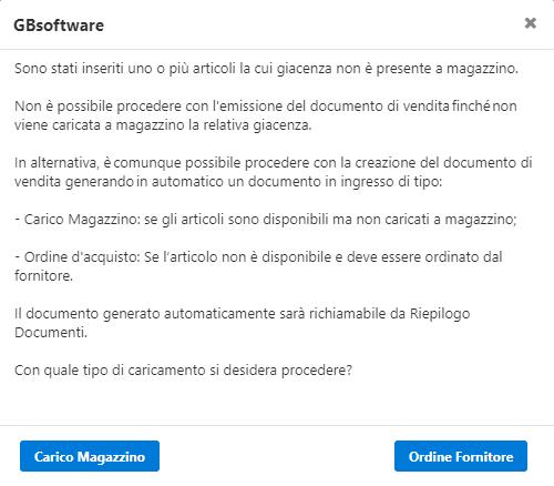Fatturazione inWeb: Gestione Sottoscorta: messaggio al salvataggio del documento di vendita