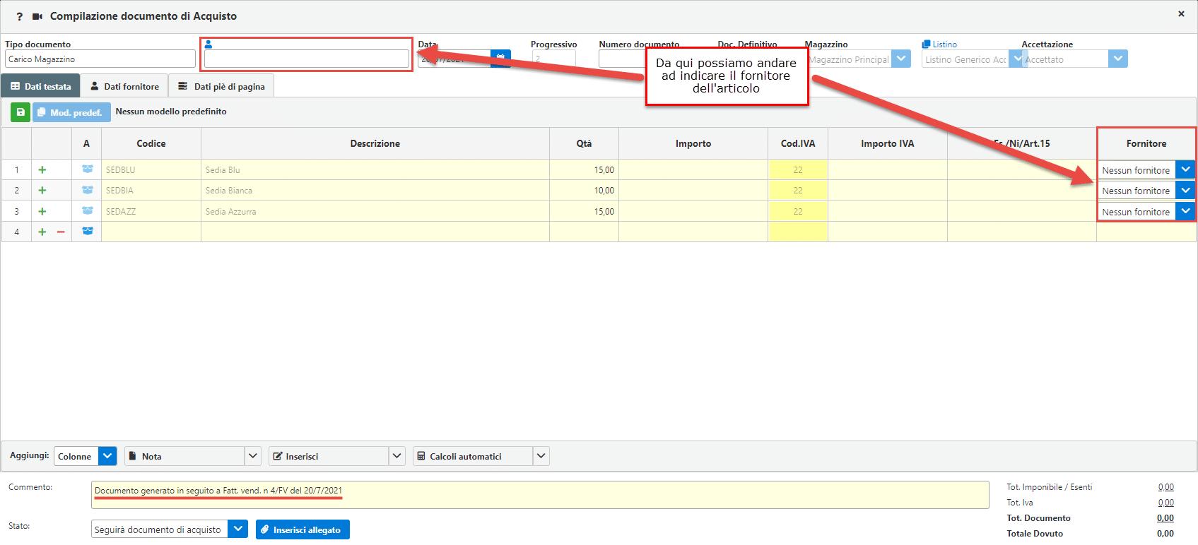 Fatturazione inWeb: Gestione Sottoscorta: percorso per vedere e aprire il documento creato in automatico