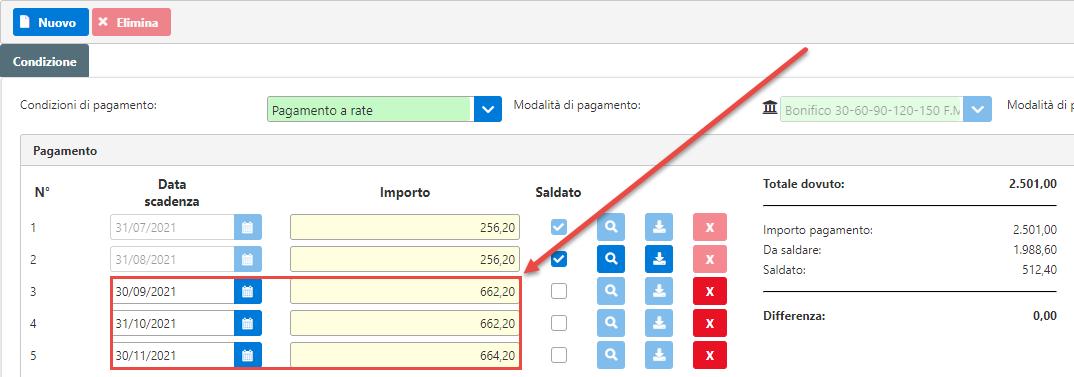 Fatturazione inWeb: invio documenti tramite Adesione Online: aggiornamento importi rate da saldare